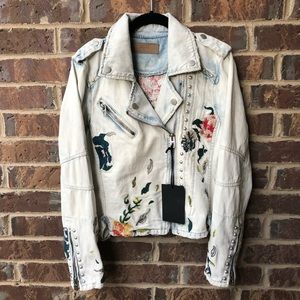 NWT BLANKNYC Embroidered Studded Moto Denim Jacket